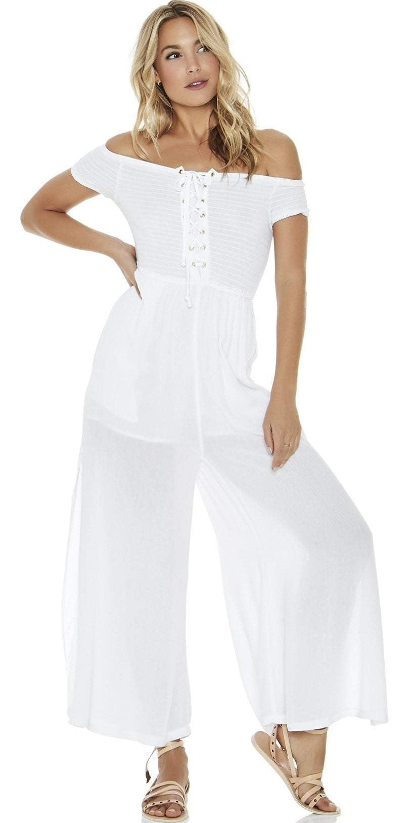 L Space Sao Paulo Romper in White SAPJU18-WHT front view on model