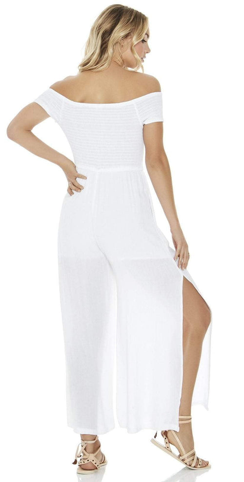 L Space Sao Paulo Romper in White SAPJU18-WHT back view on model