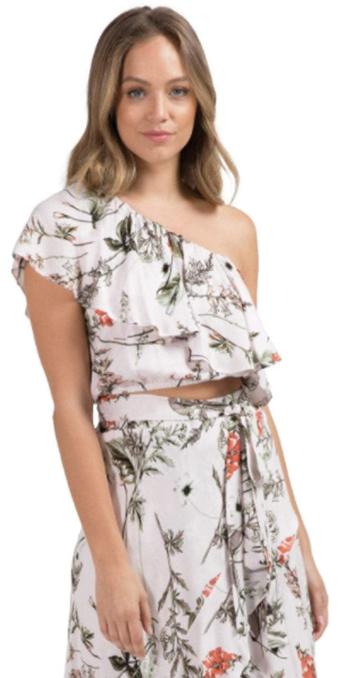 Elan Ruffled One Shoulder Crop Top in Pale Pink Botanical SCP1908-PPK-BO: