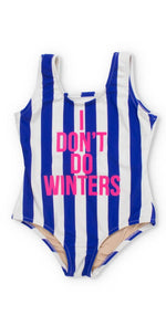 Shade Critters I Dont Do Winters Blue Stripe Scoop Swimsuit SG01A-WNT-M24: