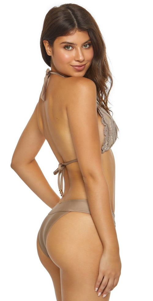 PilyQ Sandstone Lace Banded Teeny Bikini Bottom SND-222T Beige side view