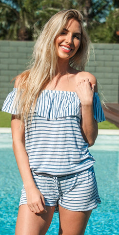 Splendid Chambray All Day Off Shoulder Romper SP48777-BLU