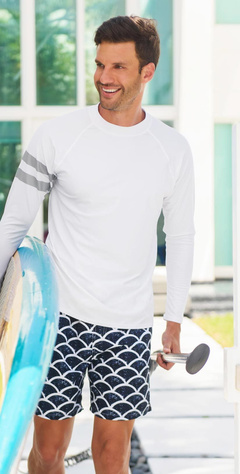 Snapperrock Men's Arm Band Rashguard Top in White M20052L: