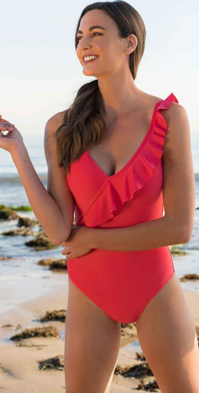 Draper James for Helen Jon Ruffle Front One Piece Swimsuit:
