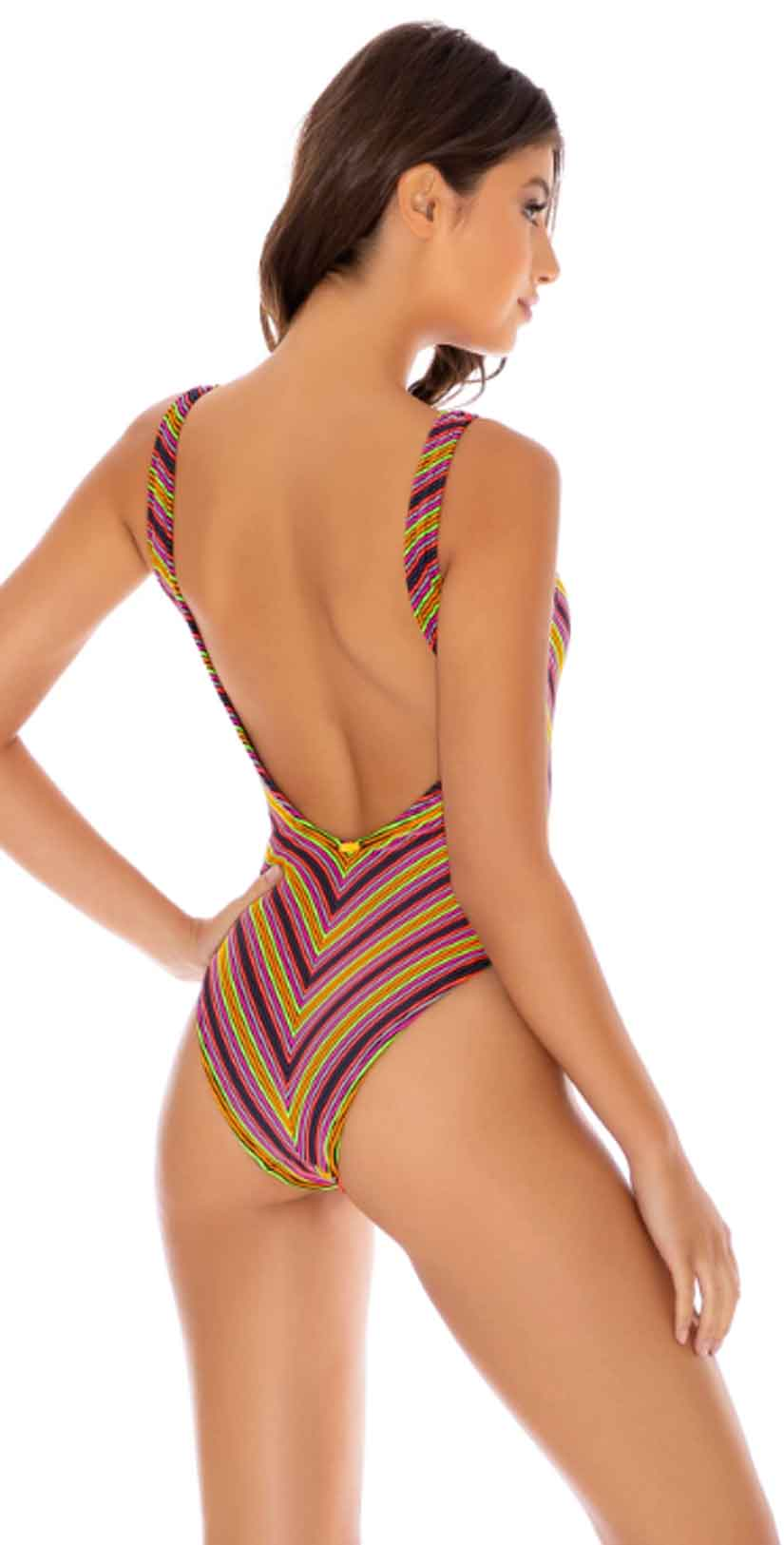 Luli Fama Jungle Glow Tank One Piece Bodysuit in Multicolor: