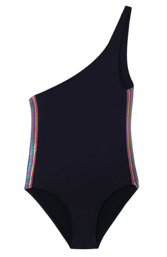 PQ Swim Rainbow Elastic One Shoulder Girls One Piece flat shot
