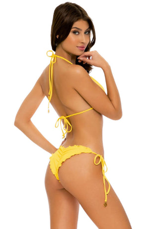 Luli Fama Playa Vibes Wavey Ruched Back Tie Side Bottom in Yellow
