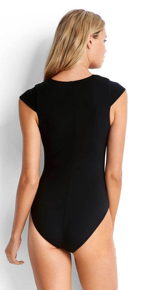 Seafolly Lace Up Cap Sleeve Maillot in Black 10744-058-BLACK: