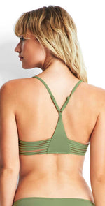 Seafolly Rouleau Bralette Top in Moss 30815-058-MOSS: