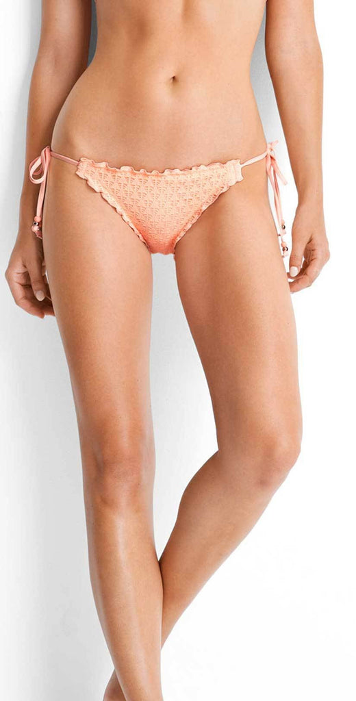 Seafolly Havana Peach Hipster tie side bottom front