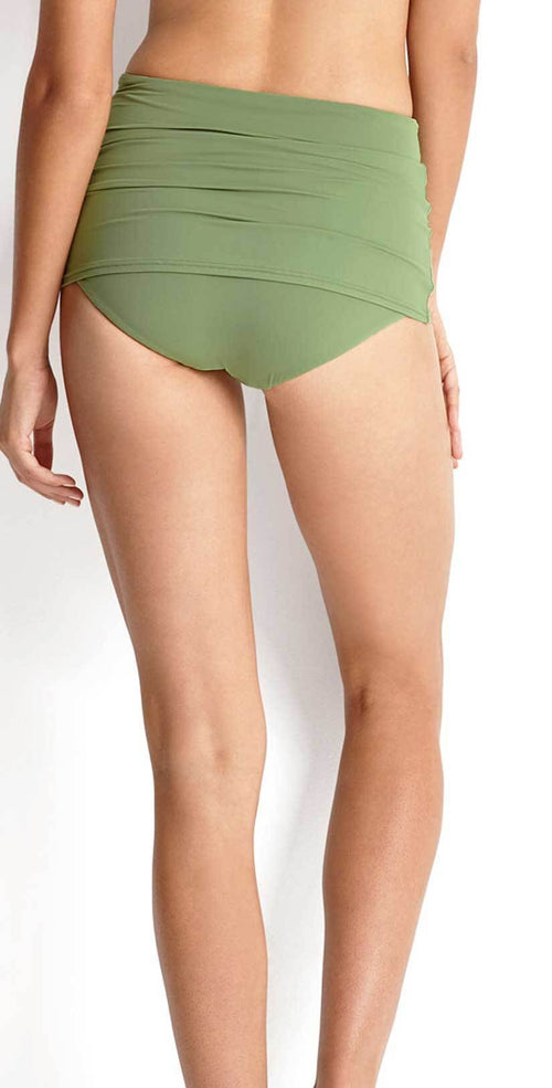 Seafolly High Waist Skirted Bottom in Moss 40461-058-MOSS back studio