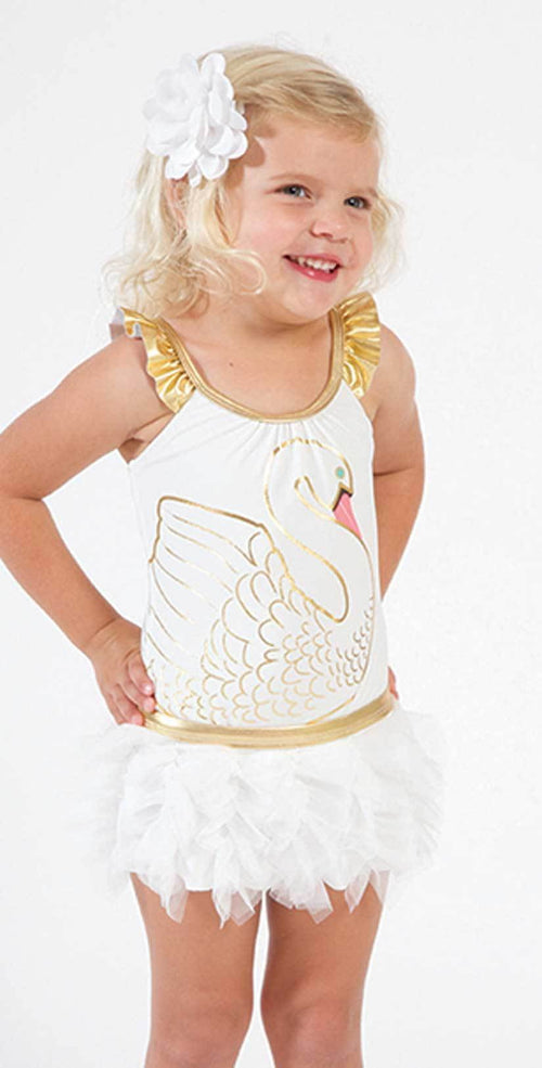 Shade Critters Little Girl's Swan Princess One Piece with Skirt SS024 front studio