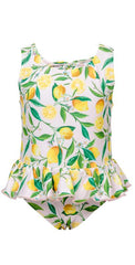 Little Girls lemon skirted swimsuit