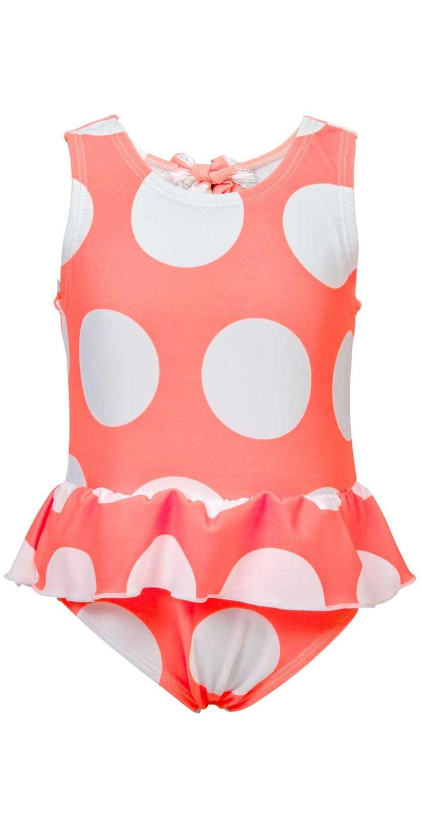 Baby girl's neon coral polka dot swimsuit