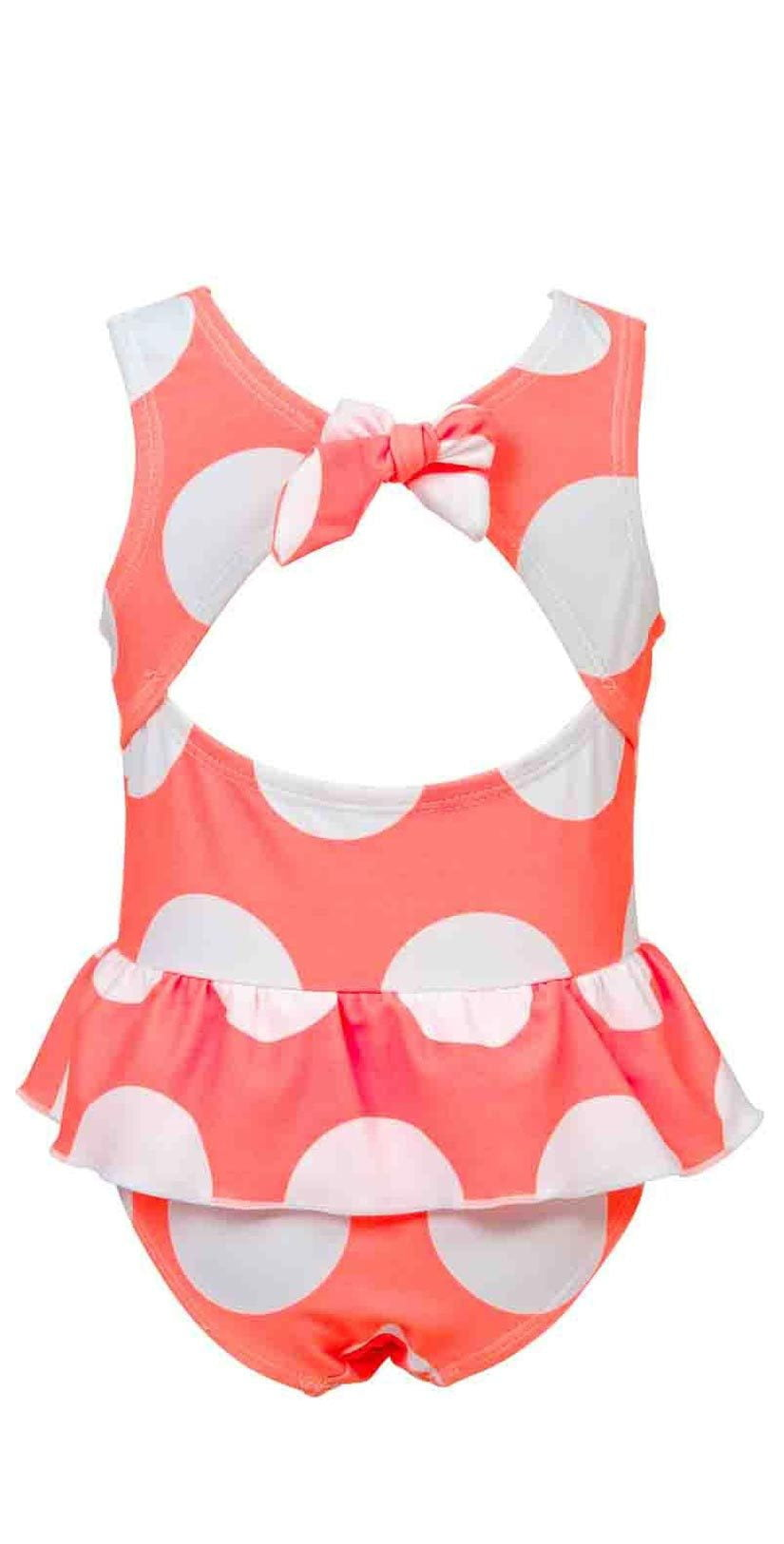 Snapperrock Little Girl's Neon Coral Spot Skirted one piece