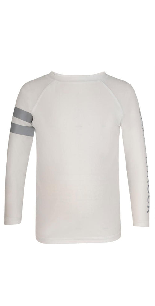 Snapperrock Boy's Arm Band Long Sleeve Rashguard Top in White B20052L: