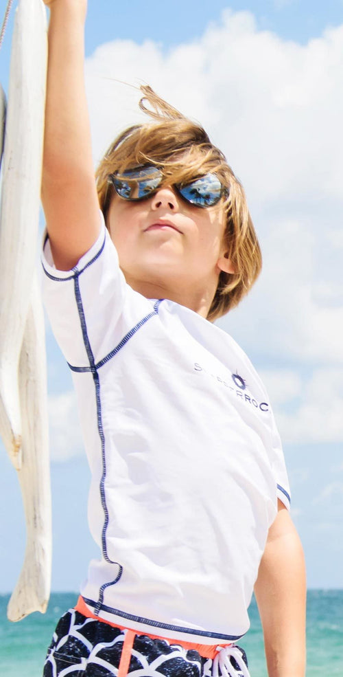 Snapperrock Boy's White Short Sleeve Rashguard Top 125