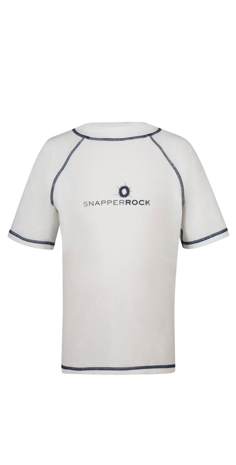 Snapperrock Boy's Short Sleeve Rashguard Top in White 125:
