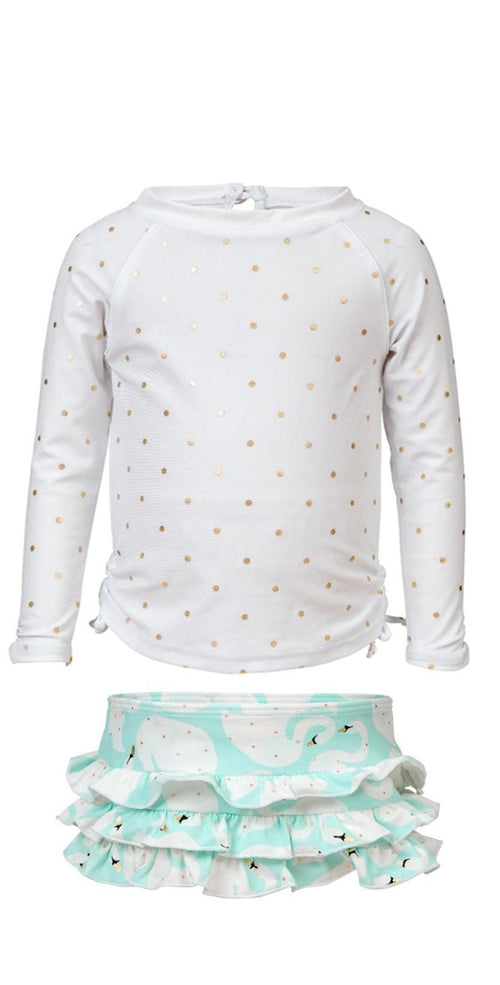 Snapperrock Girls Swan Long Sleeve Rashguard Set G50011