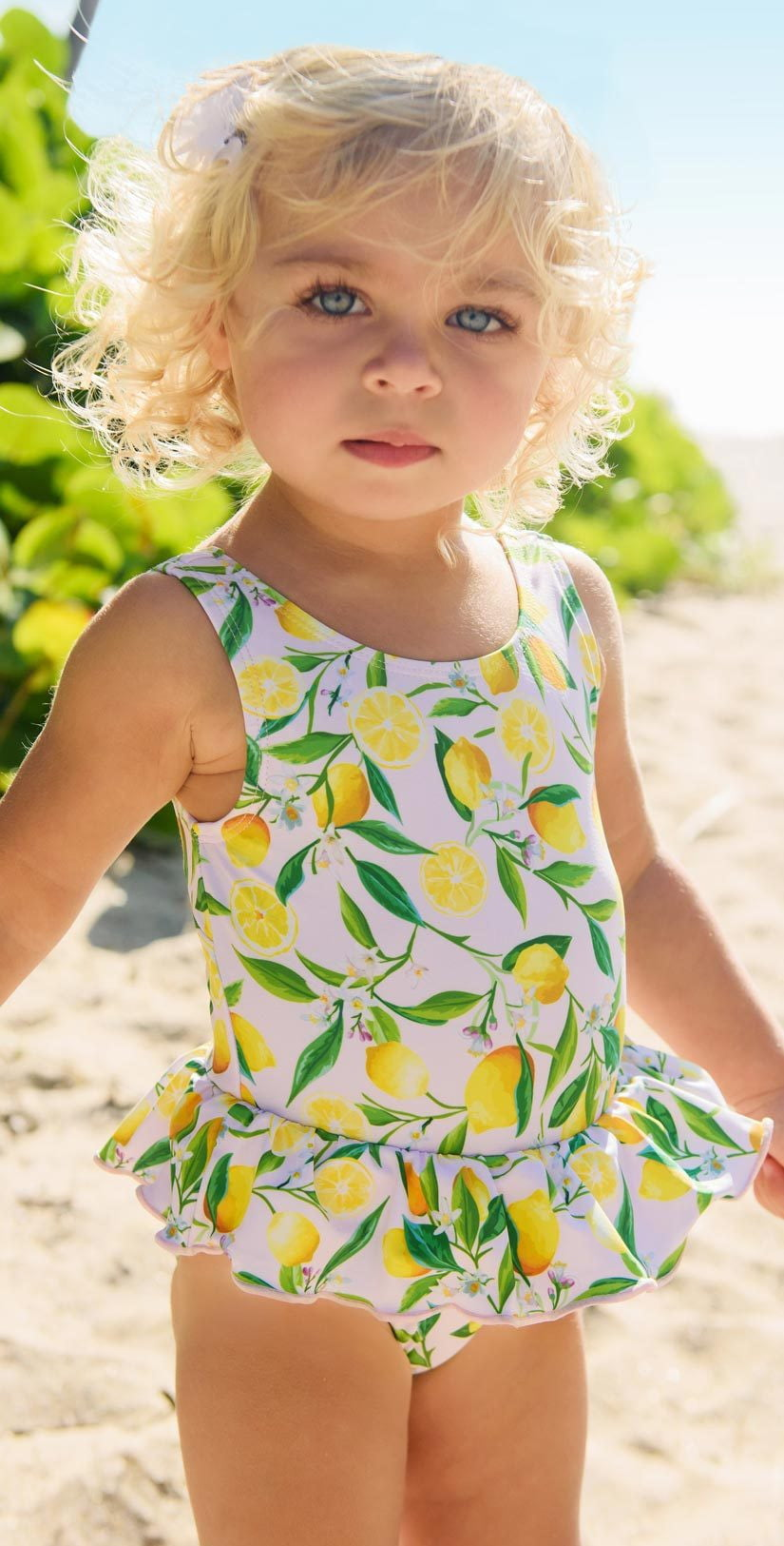 Snapperrock Little Girl's Lemon Skirted Swimsuit G13078