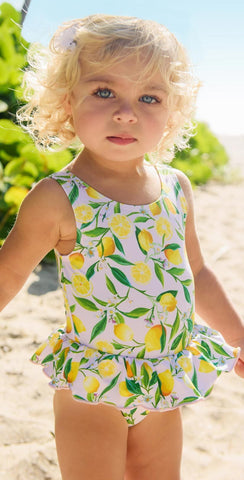 Snapperrock Lemon Little Girl's Skirted Swimsuit G13078