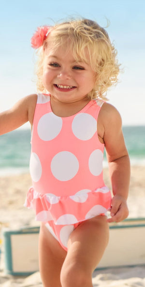 Snapperrock Little Girl's Neon Coral Spot Skirted Swimsuit G13075: