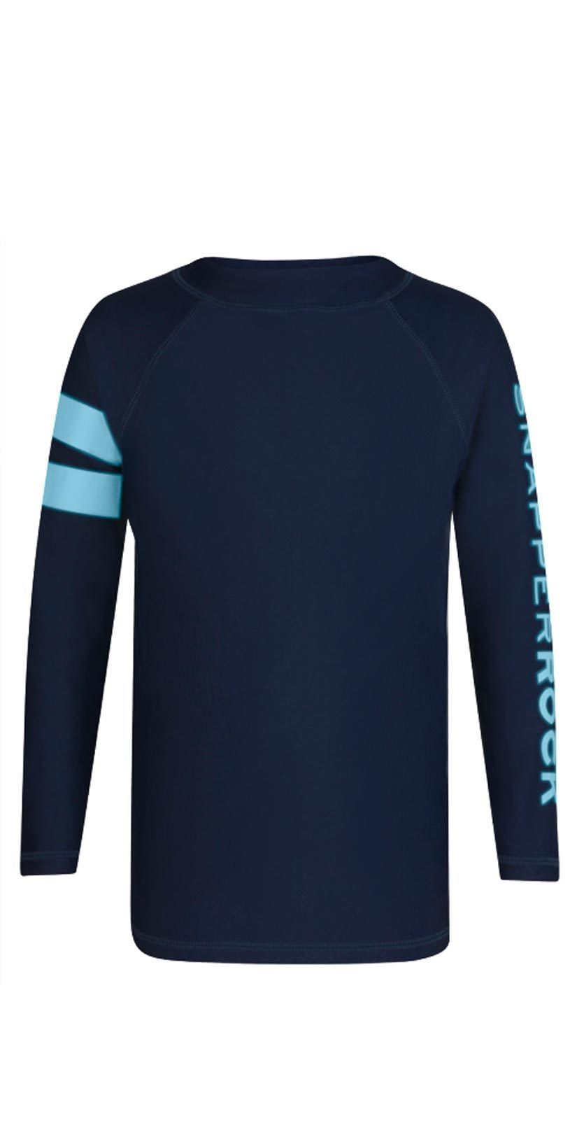 Snapperrock Boy's Arm Band Long Sleeve Rashguard Top in Navy B20053L: