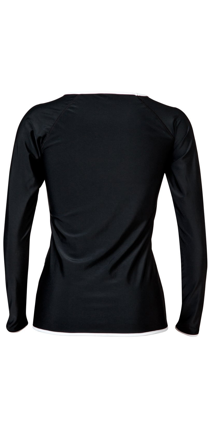 Snapperrock Ladies Black with White Trim Rashguard Top L20002L:
