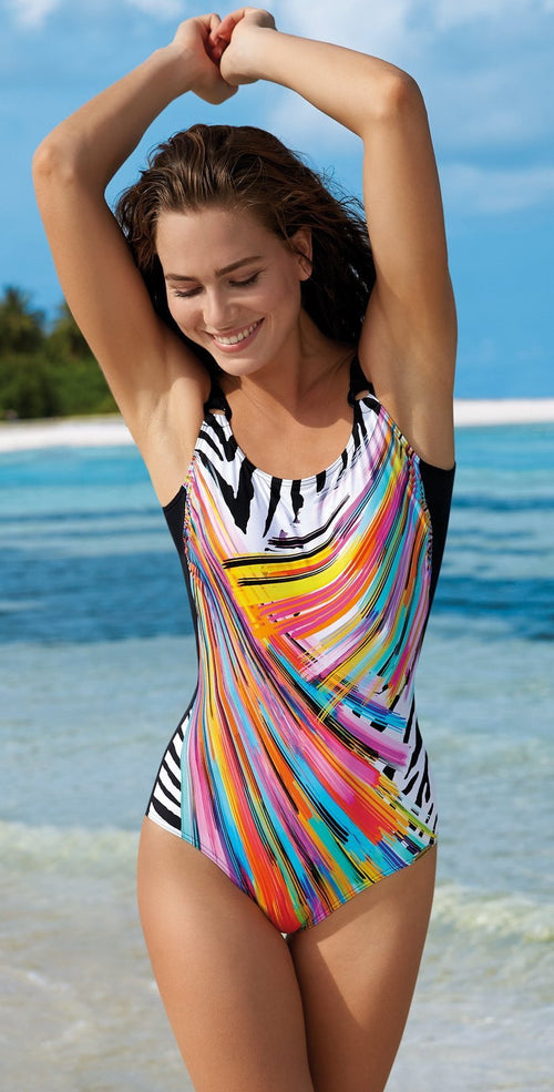 Sunflair Painted Curl One Piece Mastectomy Swimsuit 22306 Multi: