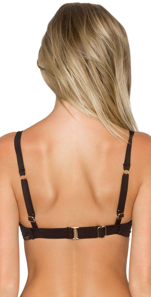 Sunsets Black Bardot Underwire Top Back View