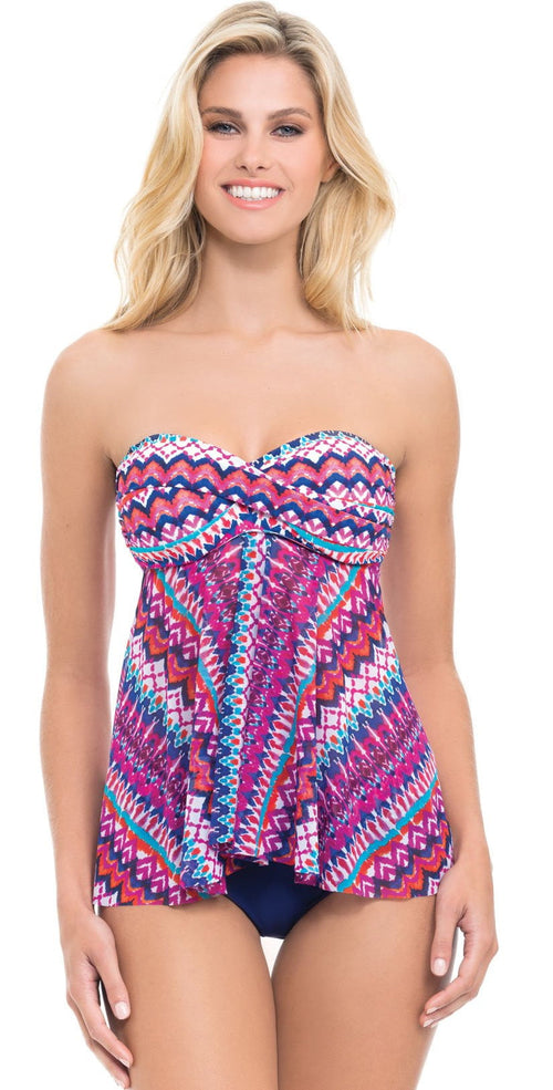 Profile by Gottex Tequila Bandeau Flyaway Tankini Top
