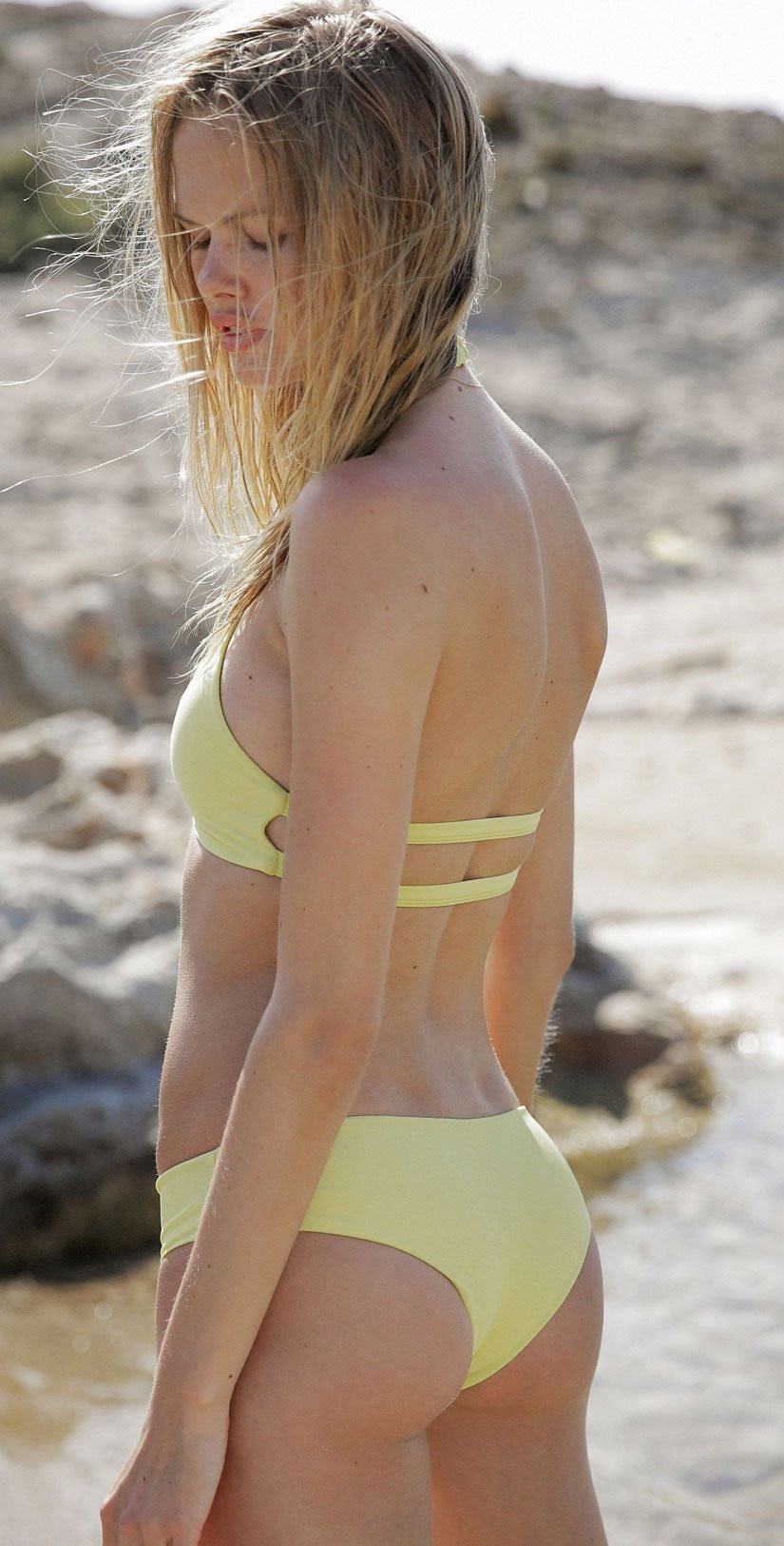 Tori Praver Sabina High Neck Top In Limoncello Back View