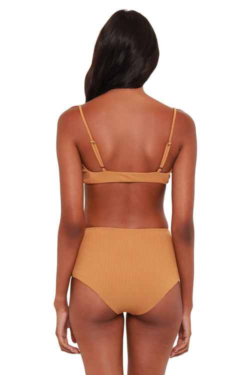 Bromelia Vivianne  Bikini Top in Carmel Ribbed: