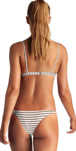 Vitamin A Carmen Bikini Bottom in Cocoa Marin Stripe 84B MSD: