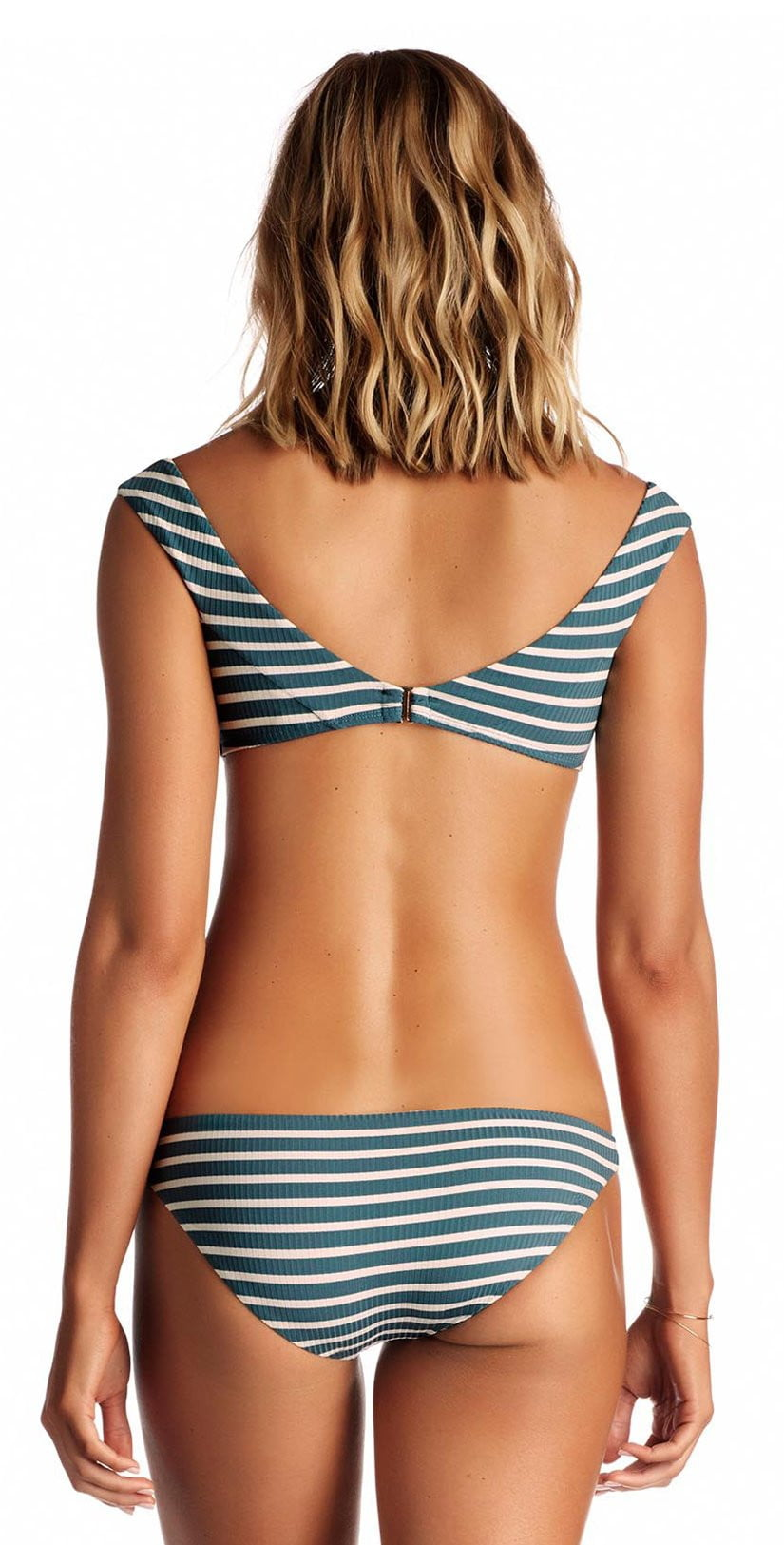 Vitamin A Capri Bikini Top in Grey Marin Stripe 88T MAG: