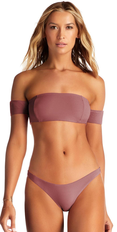 Vitamin A Havana Ribbed Bikini Top in Dusty Rose 85T DRR: