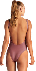 Vitamin A Leah EcoRib One Piece Bodysuit in Rose 76M DRR: