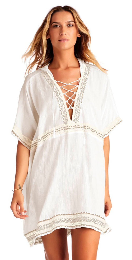Vitamin A Isabell Windswept Short Gauze Caftan in White 7CS WEG: