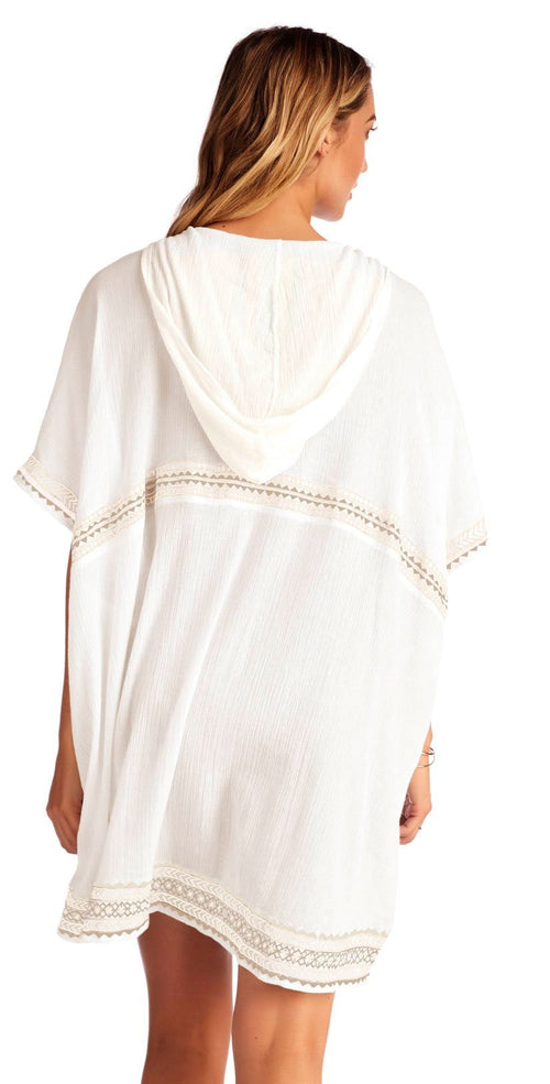 Vitamin A Isabell Windswept Short Gauze Caftan in White Back View