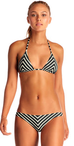 Vitamin A Carmen Bikini Bottom in Black Marin Stripe 84B MAR: