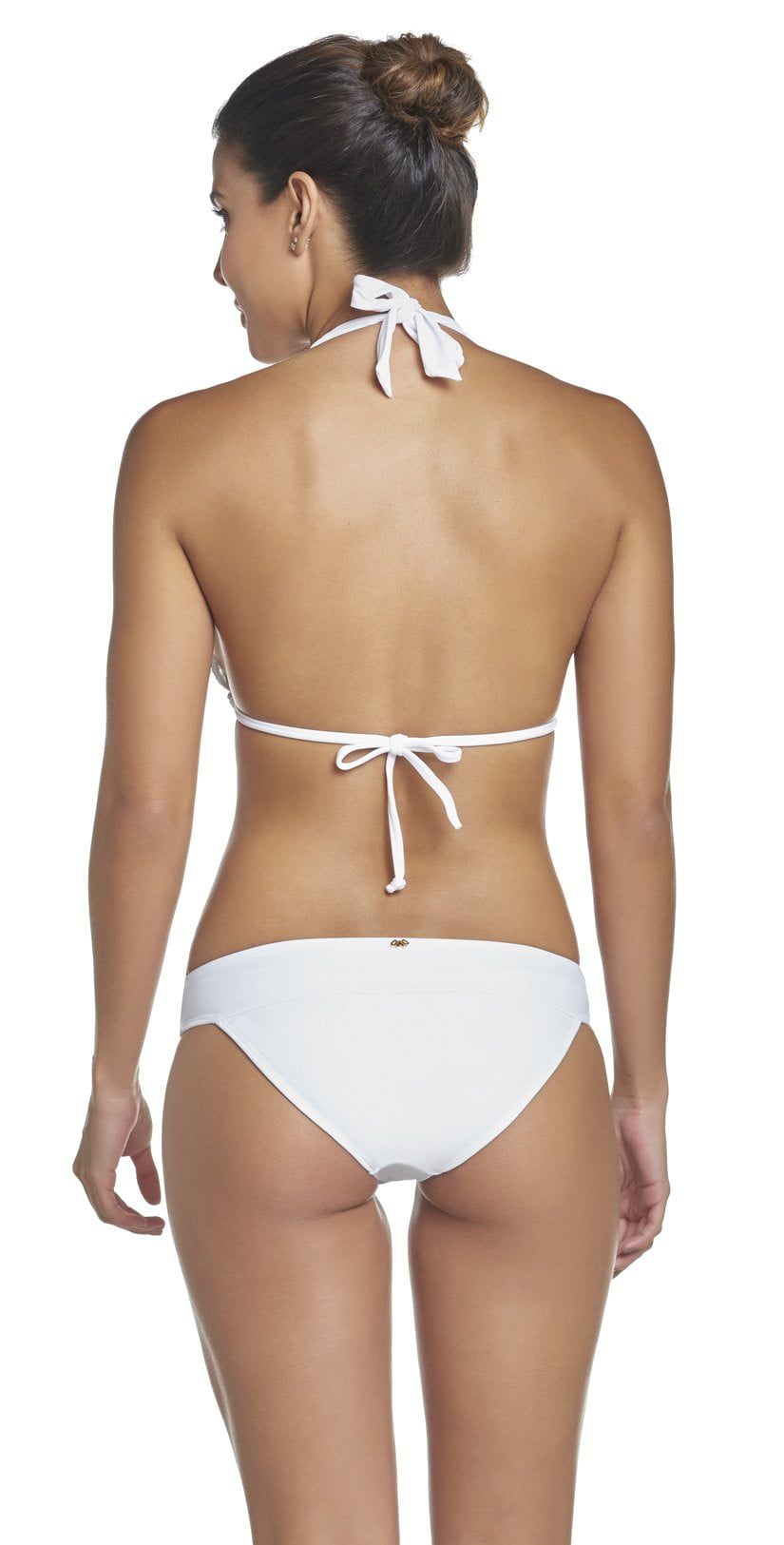PilyQ Water Lily Lace Banded Full Bikini Bottom in White WAT-222Tback studio