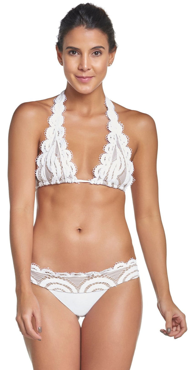 PilyQ Water Lily Lace Halter Bikini Top in White WAT-152H