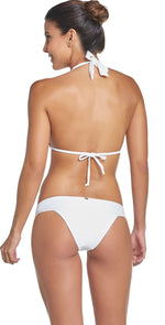 PilyQ Water Lily Lace Halter Bikini Top in White WAT-152H: