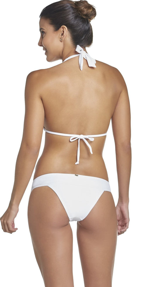 PilyQ Water Lily Lace Banded Teeny Bikini Bottom in White WAT-222T back view of studio model