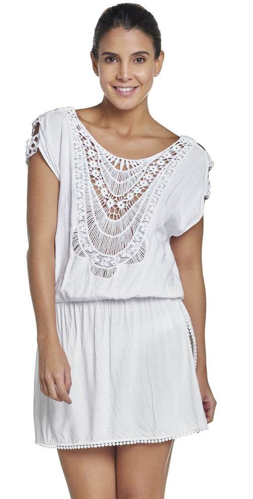 PilyQ Water Lily Camila Cover-Up in White WAT-952T front view