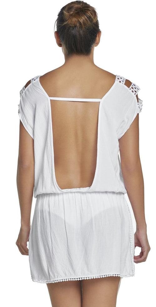 PilyQ Water Lily Camila Cover-Up in White WAT-952T back view