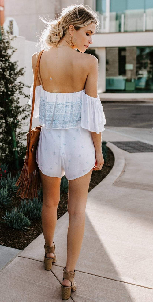 Elan Stamped Off-Shoulder Romper in Pale Blue SCP7112 back view lifestyle model