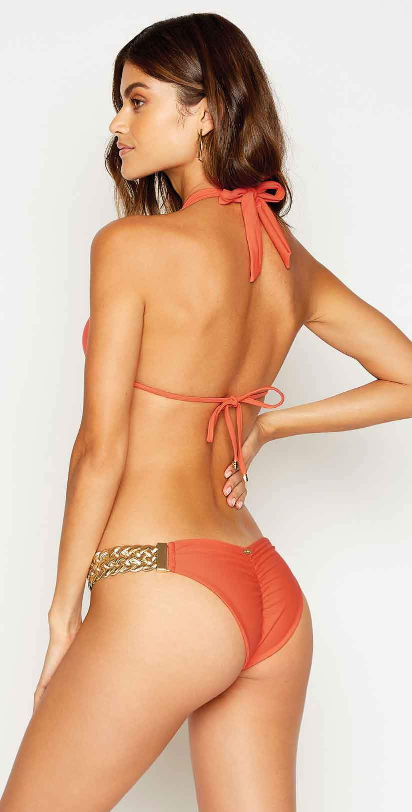 Beach Bunny Alexa Skimpy Bikini Bottom in Poppy: