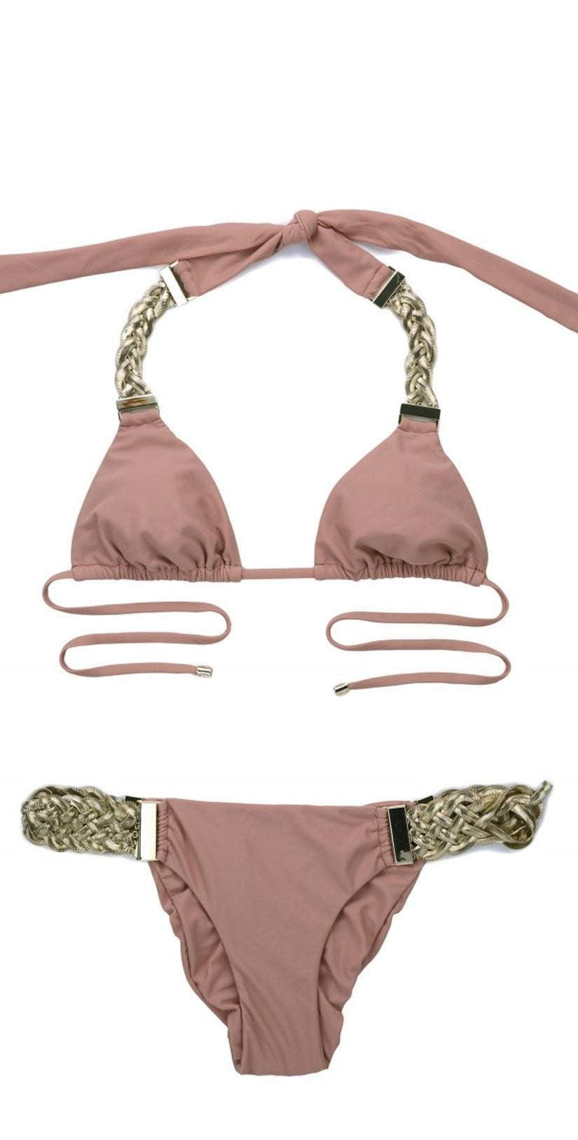 Beach Bunny Alexa Triangle Top in Whiskey Rose B18100T1-WHRS flat image
