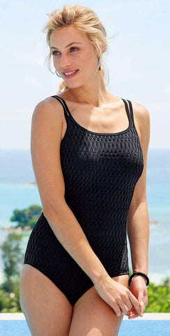 Anne Cole Color Block Mesh One Piece 19MO01604 Black/White & 19PO01604